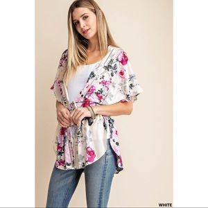 Rosa - Spring floral kimono with lace detail,Ivory